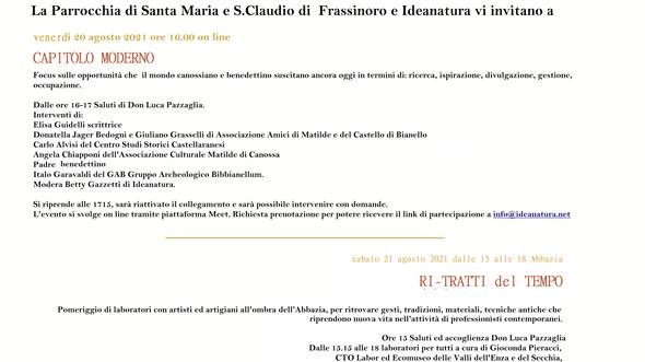 950° Abbazia di Frassinoro - iniziative di Ideanatura 20 e 21 agosto 2021