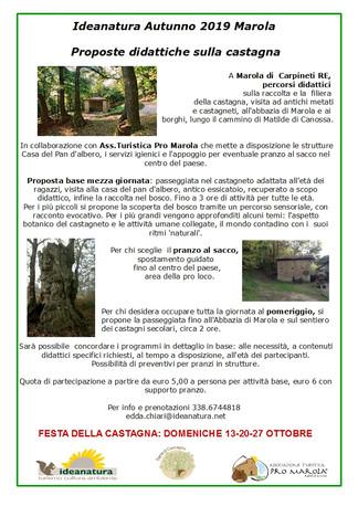 Proposte didattiche sulla castagna a Marola RE in