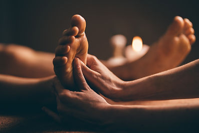 Professional foot massage close up. Auth