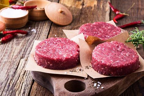 Organic raw ground beef, round patties f