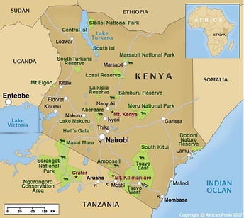 Map of Kenya and surrounding countries