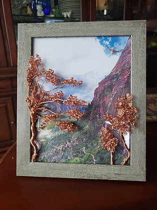 Framed 3d Copper Tress and Mountain View