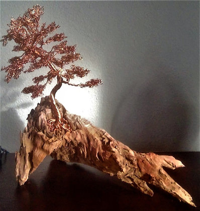 Copper Wire Tree on Drift Wood