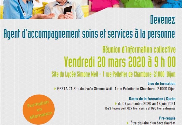 Greta Bac Pro ASSP                    Réunion d'information collective       le 20 mars 2020 à 9h
