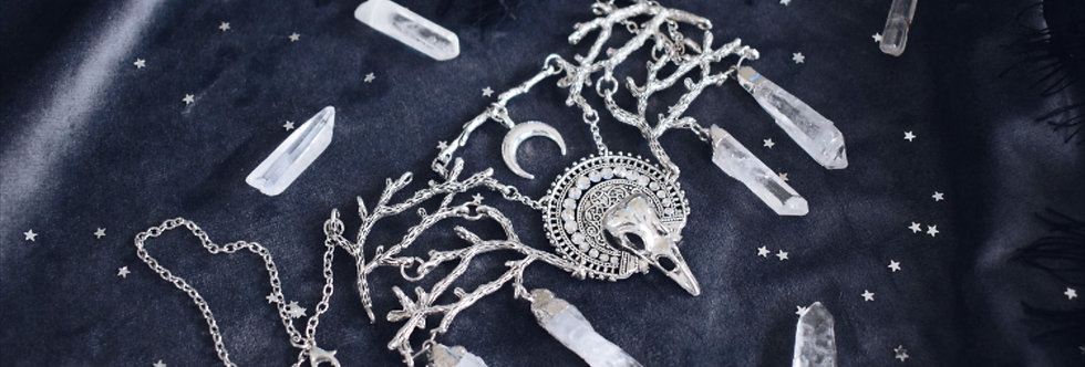 Frosty Raven Skull Necklace