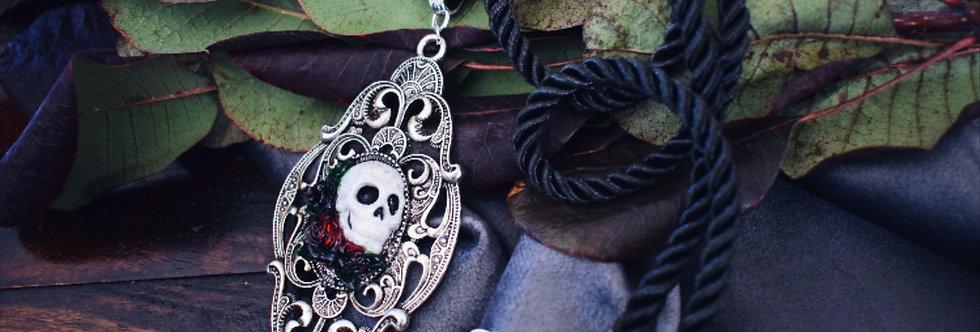 Rose & Skull Cameo Pendant