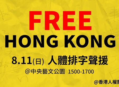 挺人權 撐香港 護民主:臺灣聲援香港民主人體排字活動