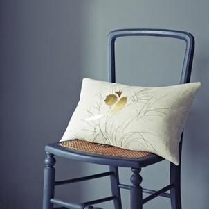 Gold Bird Cushion Helen Minns