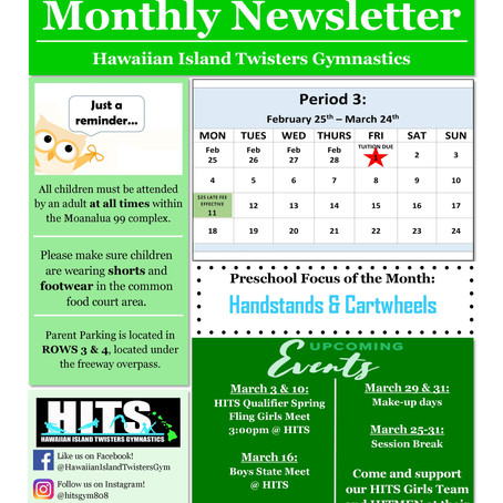 March 2019 Monthly Newsletter