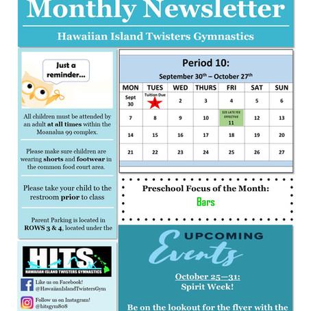 October 2019 Monthly Newsletter