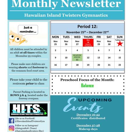 December 2019 Monthly Newsletter