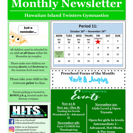 November 2019 Monthly Newsletter