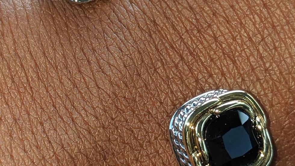 """Half Moon Bracelet  (""""Onyx & Gold"""")"""