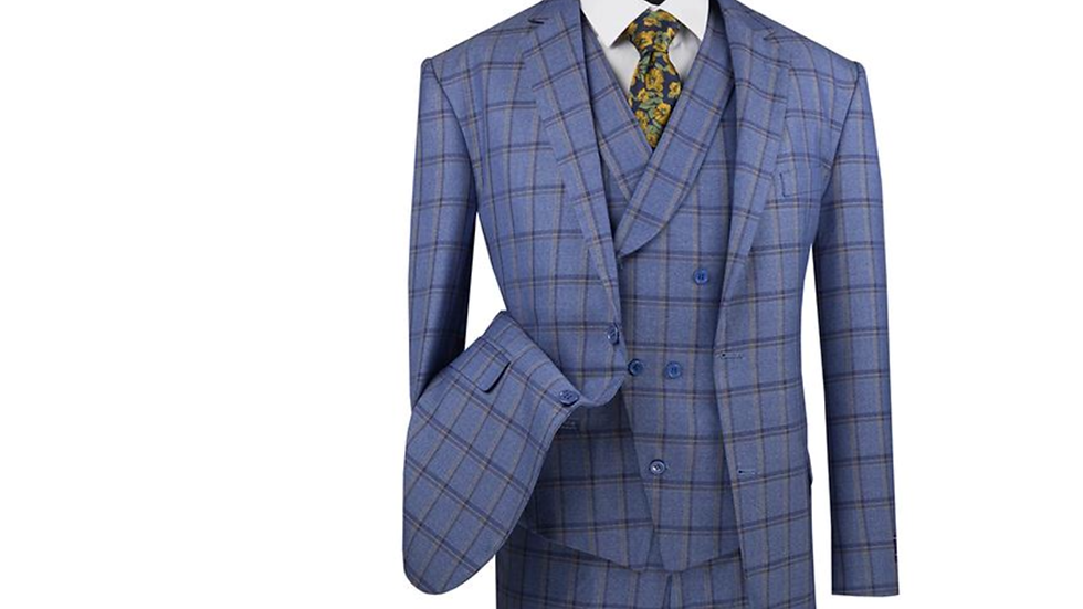 Blue Window Pane, Asymmetrical Three Piece Suit