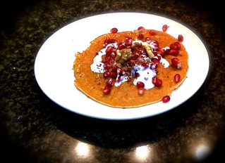 Almond pancakes with pomegranate