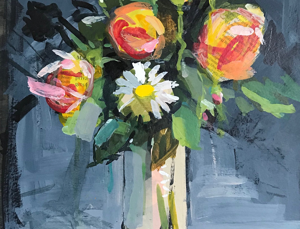 Daisies & Orange Roses
