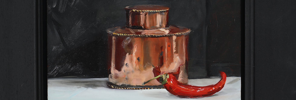 Copper Tea Caddy and Chilli