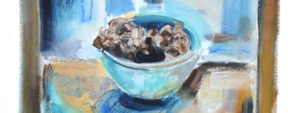 Pine Cones in Blue Bowl
