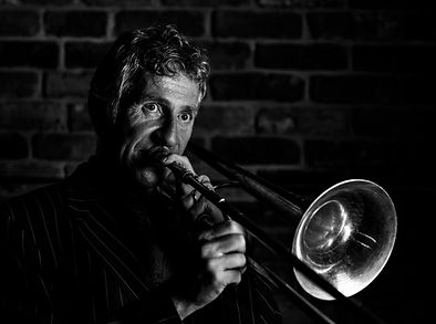 Graham Hughes playing the blues on his trombone