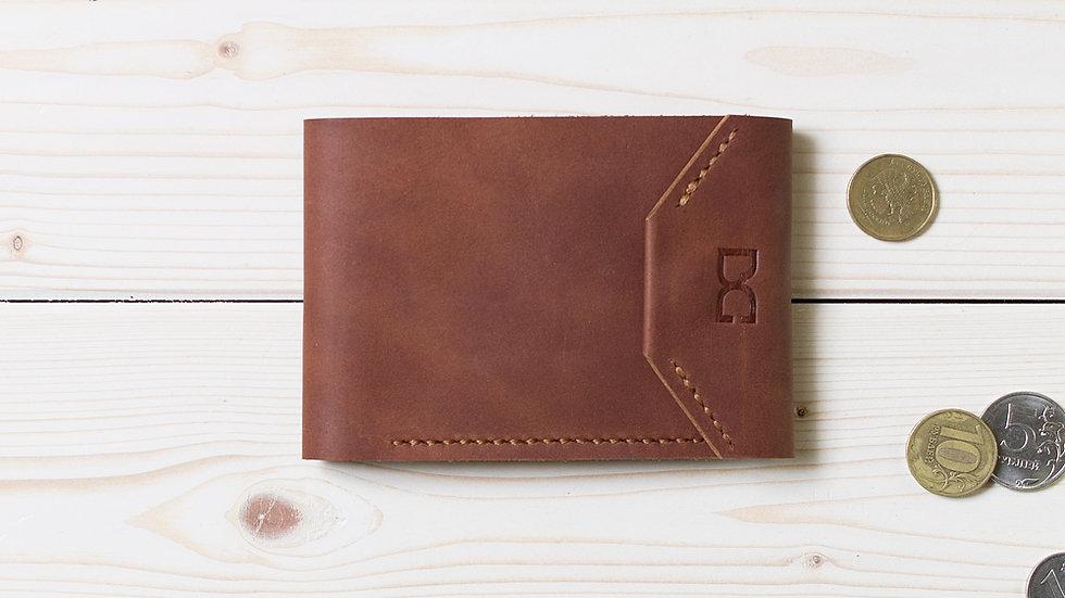 Светло-коричневый кожаный кошелек с карманом для монет на кнопках