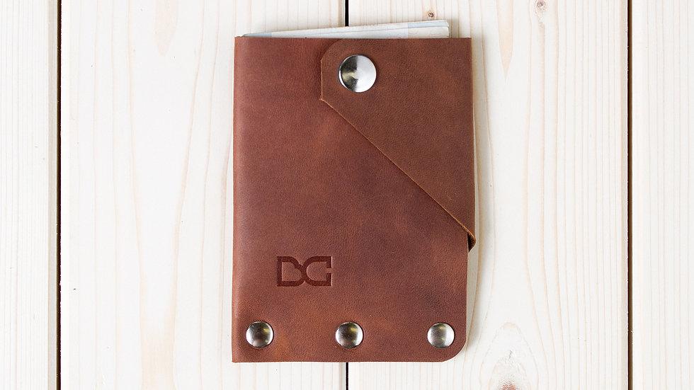 Вертикальный светло-коричневый мини-кошелек для карт и купюр «SIMPLE»