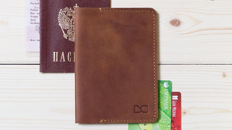 Обложка для паспорта светло-коричневая