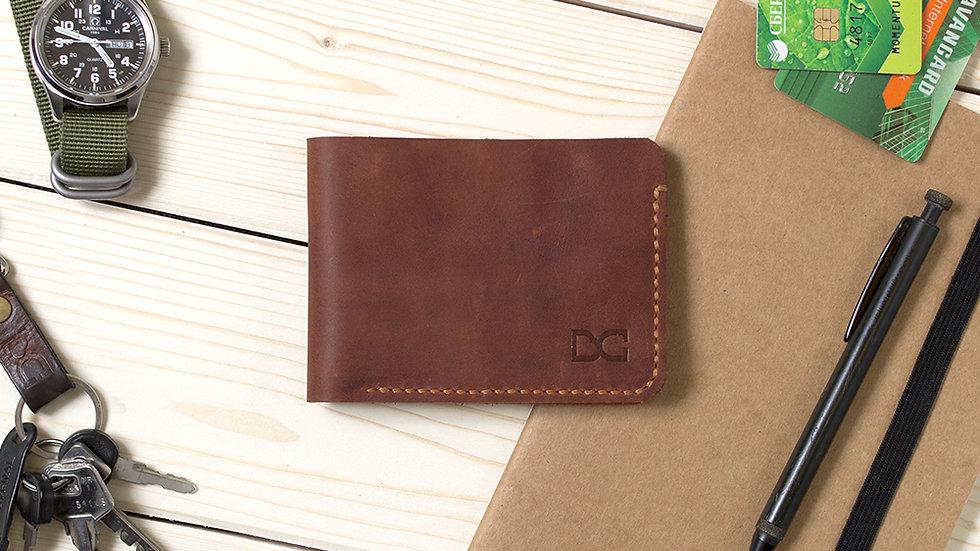 Светло-коричневый кожаный бумажник для карт и купюр
