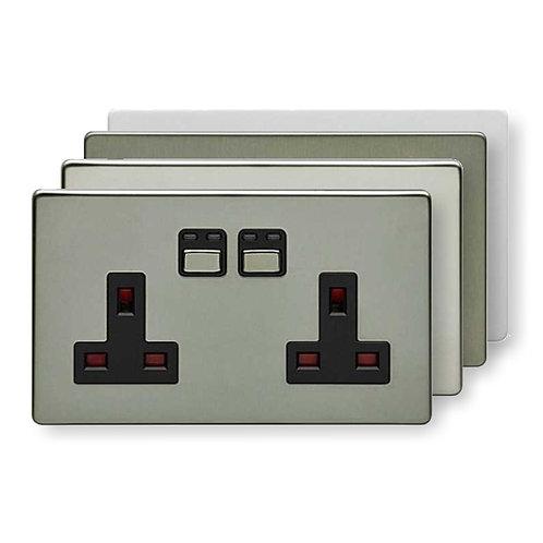 LightwaveRF 2 gang 13 amp Socket - Stainless-Steel