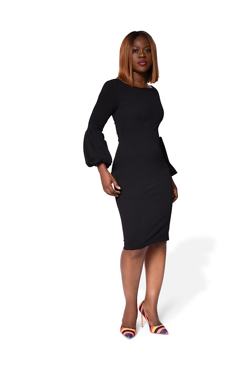 Long Puff Sleeve Gown - Black