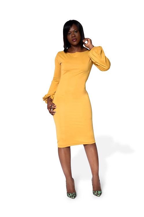 Long Puff Sleeve Gown - Yellow