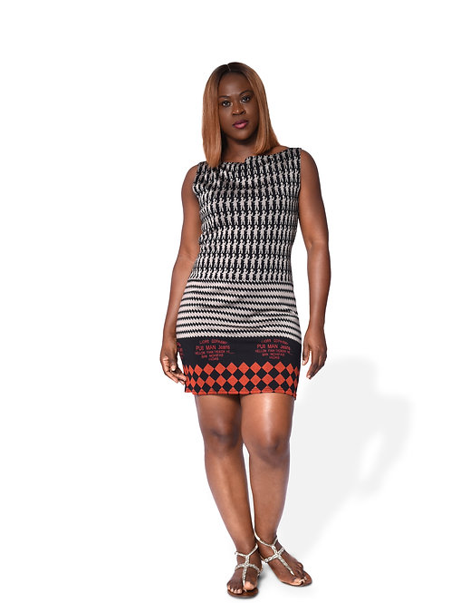 Bodycon Dress - Abstract Print