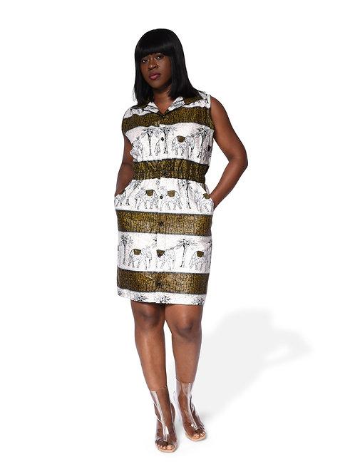 Strip Print Collar Dress