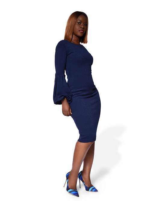 Long Puff Sleeve Gown - Navy Blue