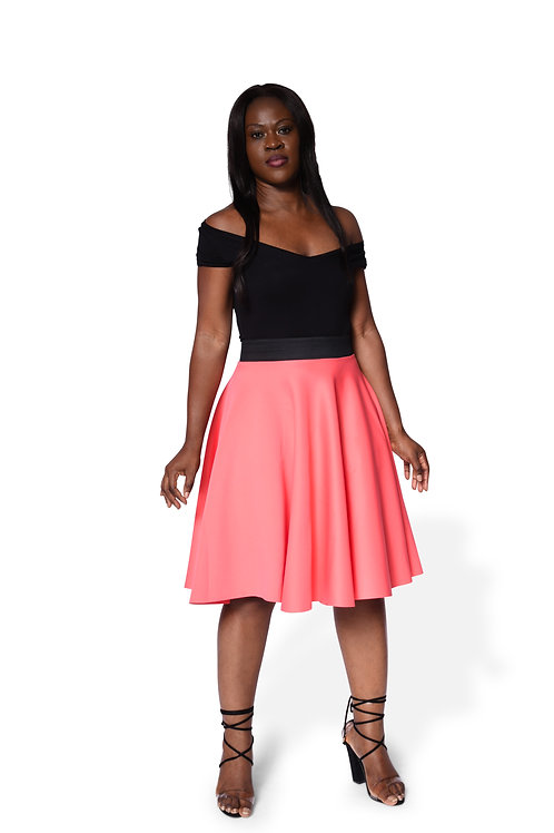 Full Circle Skirt - Peach - Pink