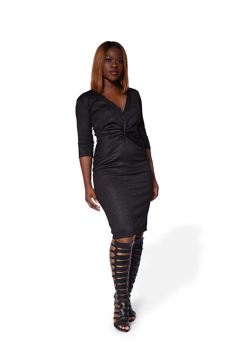 Knot Dress - Silver Black