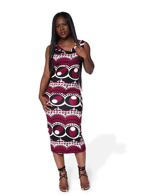 Cowl Neck Midi Gown