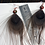Thumbnail: Tan Peacock Feather Earrings with Copper / Red Clay Beads
