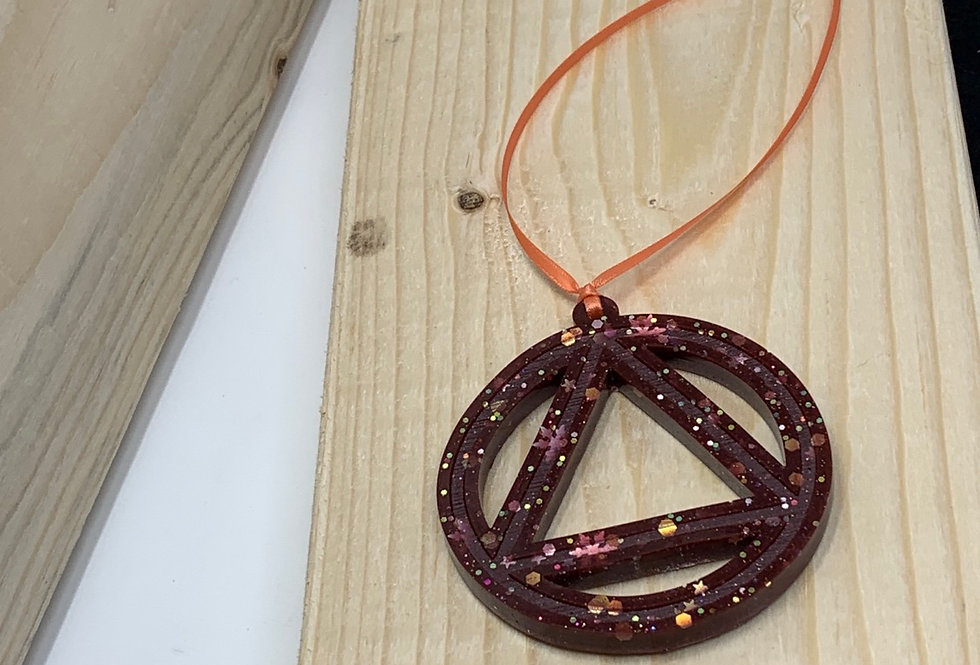 Sobriety AA symbol cast in resin cherry bomb snowflake ornament