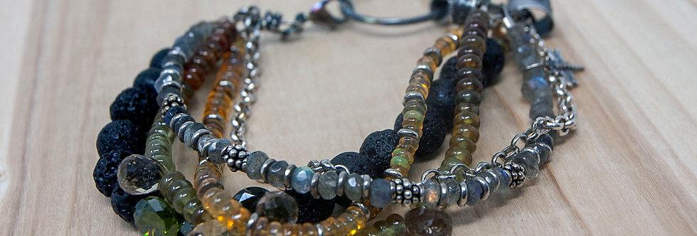 Opal Labradorite Crystal Sterling Beaded Boho Bracelet Multistrand Gemstones