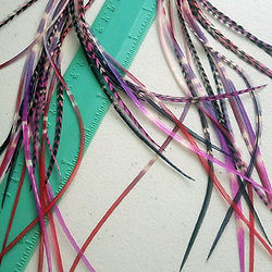 Diy hair feather extension kits bundles feathers hair plumes valentines day hair feather extensions pink purple red tie dyes bundle of 12 solutioingenieria Gallery