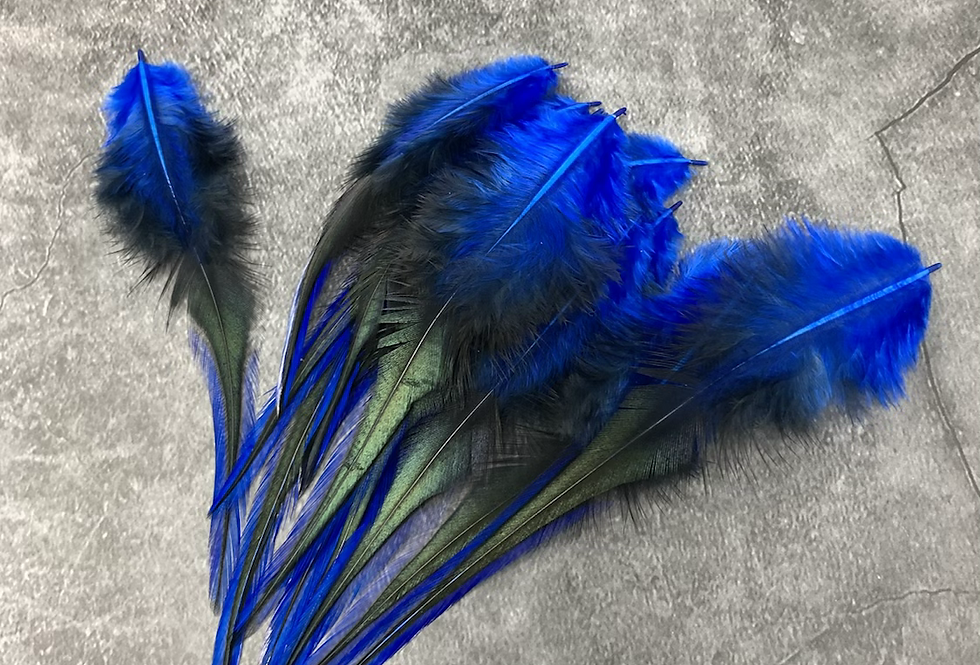 Brightest Blue BLW Laced Rooster Craft Saddle Feathers 12