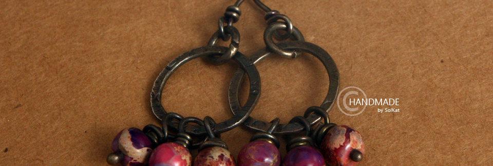 Art Jewelry Sterling Silver Earrings Purple Dangle