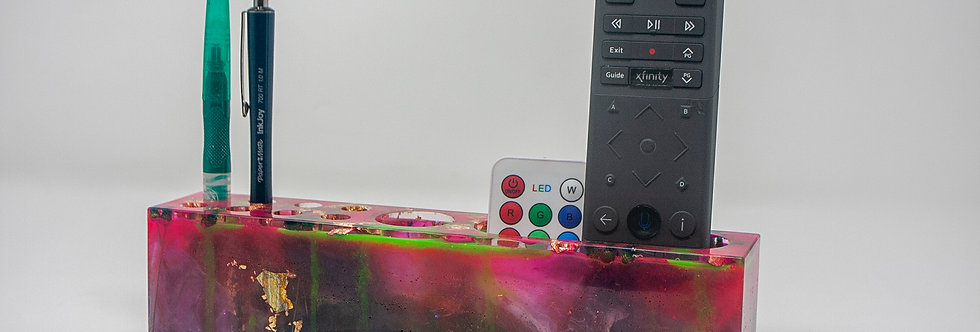 Stoner Gift Resin Art Table Organizer For Remotes Brushes Handmade Pink Green