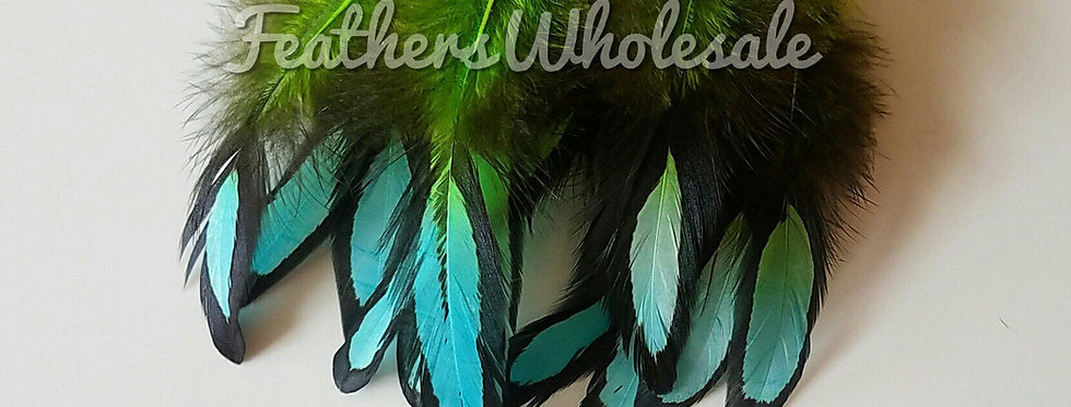 Lime Green Turquoise Blue Laced Hen Feathers for Crafts and Dreamcatchers