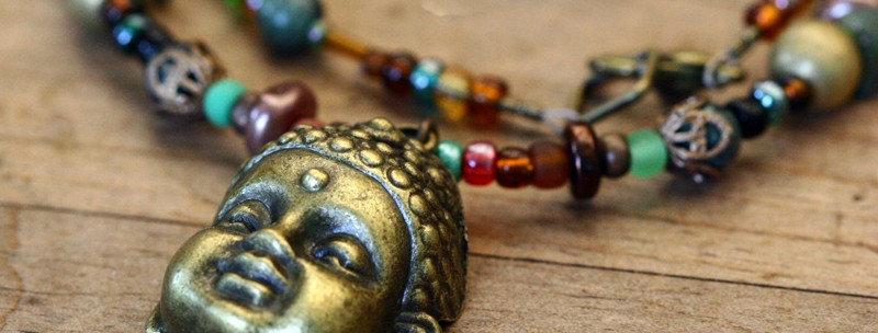 Hippy Necklace Buddha Chenrezik Colorful Beads
