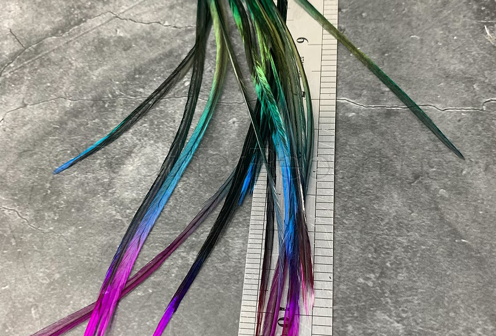 """15 Black Rainbow Rooster Feather Hair Extension Singles 8-11"""""""