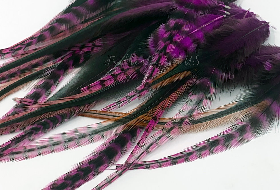 30 Magenta Pink Grizzly Variant Rooster Saddle Feathers for Crafts 3-8inch