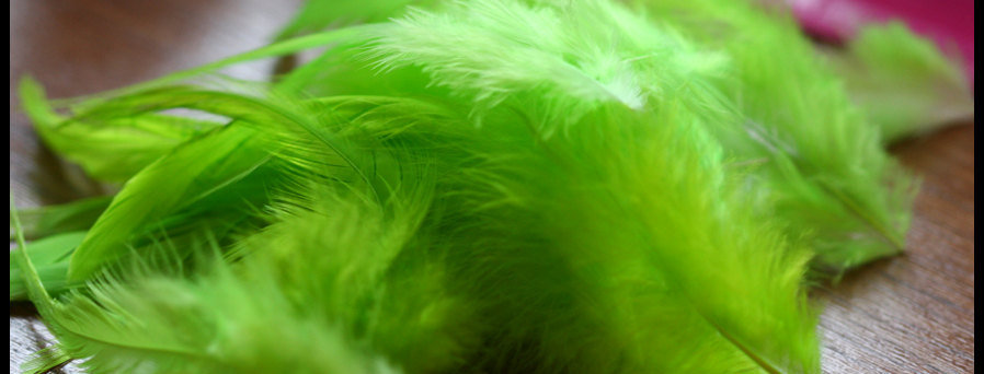 Kelly Green Craft Feathers Lime Rooster Saddles 12