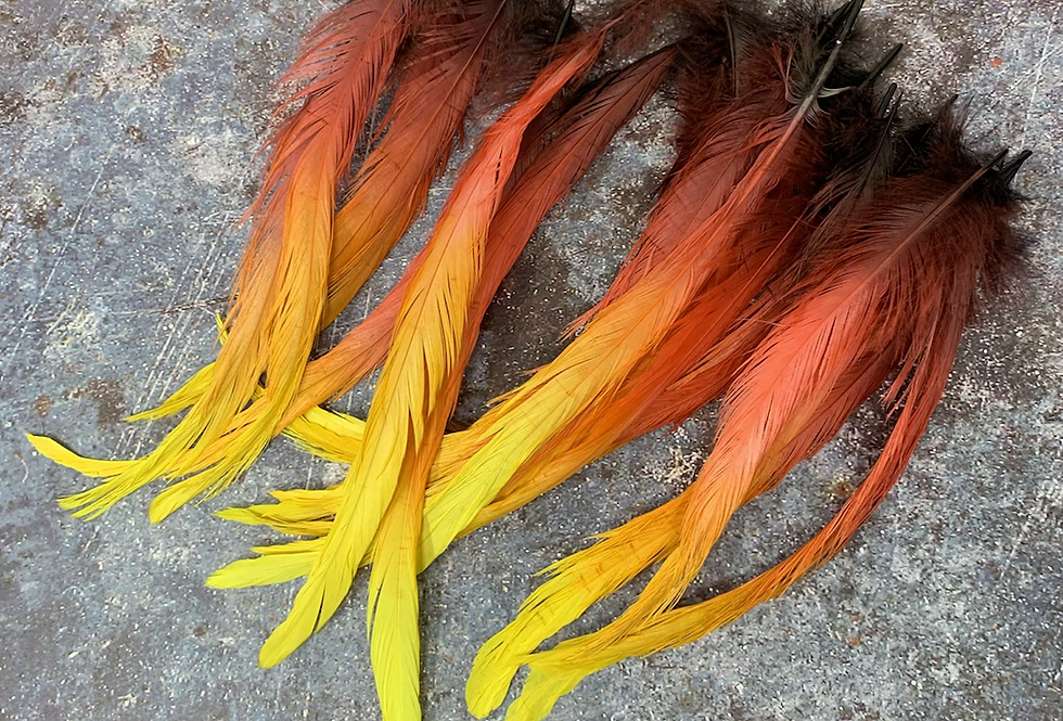 Fire Flame Craft Feathers Large Rooster Tails Red Orange Yellow Black 24 pcs