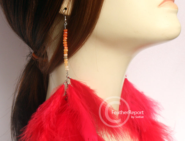 PomPom Feather Earrings Red with Fire Opal